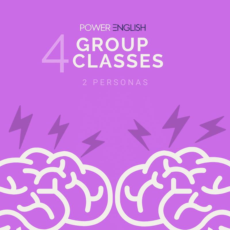 4 aulas de inglês em grupo por mês